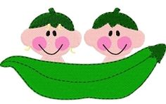 Two Peas, Boy & Girl - 4x4   Fruit/Vegetables   Machine Embroidery Designs   SWAKembroidery.com Tyme 2 Stitch