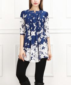 Look at this Blue & White Floral Notch Neck Tunic on #zulily today!
