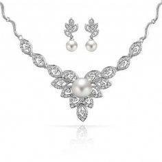 Bling Jewelry Shell Pearl Flower CZ Wedding Necklace Earring Set Rhodium Plated