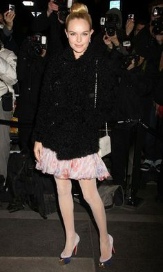 Kate Bosworth couldn't have looked cuter when she stepped out at the Chanel Rouge Coco Dinner in New York. She added wintry vibes to her floaty chiffon frock and pretty suede courts with a fuzzy boyish-cut double-breasted coat. www.pertlybeast.com #fashion