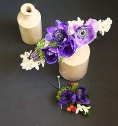 Hyacinth & anemone circlet & buttonhole.