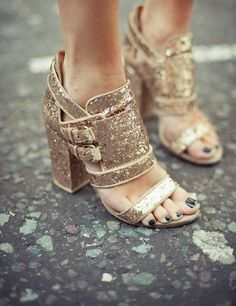 $430 Givenchy Glitter chunky heel sandals (out of stock :/ )
