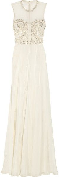 Laurel Embellished Tulle Satin and Chiffon Gown - Lyst