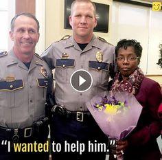 Brave grandmother saves police officer's life.