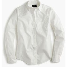 J.Crew New Perfect Shirt ($91) ❤ liked on Polyvore featuring tops, button down shirt, white, petite, long tops, white button shirt, long white shirt, white shirt and button up shirts