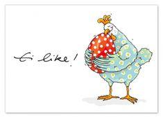 Postkarte Ei Like - krima & isa Shop Chicken Painting, Chicken Art, China Painting, Ceramic Painting, Easter Illustration, Chicken Humor, Patch Aplique, Sketch Notes, Happy Paintings