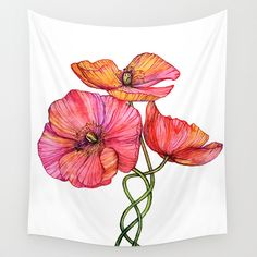 Peach & Pink Poppy Tangle Wall Tapestry