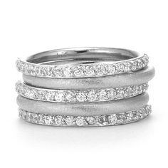 SusanB.Designs Simulated Diamond Stackable Bands Set of 5 Rings Sterling Silver