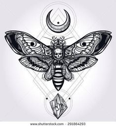 Deaths head hawk moth with moons and stones Design tattoo art Isolated vector illustration Trendy Vintage style element Dark romance philosophy spirituality occultism alchemy death magic - Shutterstock Black Tattoos, Body Art Tattoos, Tattoo Drawings, New Tattoos, Kunst Tattoos, Sketch Tattoo, Small Tattoos, Tatoos, Tattoo Sketches