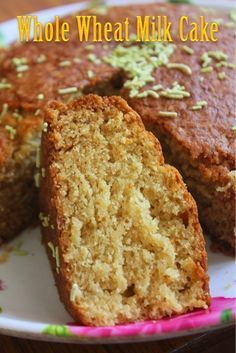 Eggless Whole Wheat Milk Cake Recipe - Yummy Tummy - This is a simple cake recipe. You need only a bowl and a wooden spoon or electric beater. This cake - Eggless Desserts, Eggless Recipes, Eggless Baking, Easy Cake Recipes, Baking Recipes, Sweet Recipes, Snack Recipes, Simple Eggless Cake Recipe, Eggless Vanilla Cake Recipe