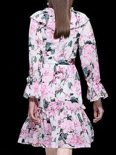 Floral Print Falbala O-Neck Long Sleeve Lacing Pleated Dress