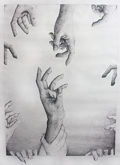 Reaching Hands Art Print