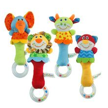 2015 Hot 4 designs Soft toys Animal Model Handbells Rattles ZOO Squeeze Me Rattle Cute Gift Baby Educational toy Age for…