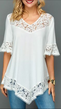 Stylish Tops For Girls, Trendy Tops, Trendy Fashion Tops, Trendy Tops For Women - Lace Patchwork Asymmetric Hem Flare Sleeve Blouse Best Picture For outfits hombre For Your Taste - Stylish Tops For Girls, Trendy Tops For Women, Blouses For Women, Blouse Styles, Blouse Designs, Trendy Fashion, Boho Fashion, Fashion Top, Ladies Fashion