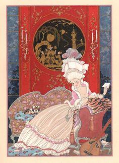 My favorite Barbier 18thC illustration (the 1700s through a 1920s lens!) Les Fêtes Galantes de Paul Verlaine, illustrations de George Barbier