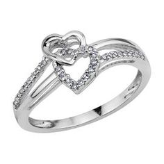 promise ring...Smart Value® 1/10ct TW Double Heart Diamond Ring in Sterling Silver - Promise Rings - Rings - Jewelry - Helzberg Diamonds
