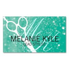 Chic Glitter Hair Stylist Scissors Business Cards