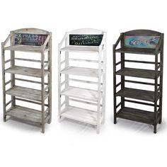 Three shelf retail display with chalkboard craft show displays, store displ Vendor Displays, Craft Fair Displays, Market Displays, Store Displays, Craft Booths, Booth Displays, Wood Shelves, Display Shelves, Shelving