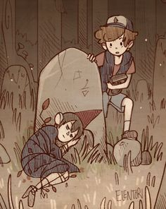 Dipper from Gravity Falls finding Wirt from Over The Garden Wall laying next to a gravestone in the woods. Garden Wall Art, Over The Garden Wall, Wall Tumblr, Garden Falls, Desenhos Gravity Falls, Fanart, Arte Sketchbook, Cartoon Crossovers, Fandoms
