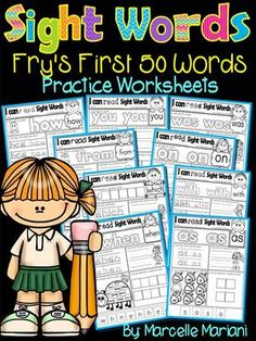 Sight Words Practice Sheets- Fry's 1st 50 words (50 Sight word Practice sheets) from KinderPrep on TeachersNotebook.com -  (53 pages)  - This package contains 50 sight word practice worksheets from fry's first 100 words. Every sheet offers coloring the word, tracing it, writing it, building it and finding it.  Great for extra practice.