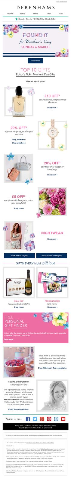 Debenhams Mother's Day Email featuring Top 10 gifts with offers, a personal gift finder and a social media competition #EmailMarketing #Retail #Social #Media #Competition #Product #Recommendations #MothersDay