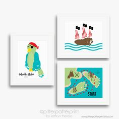 Pirate Ship Art Print Your Child's Footprints von PitterPatterPrint