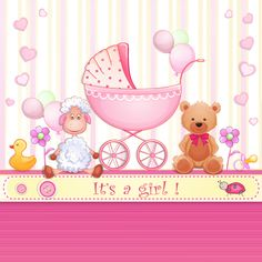 Elegant girl baby cards cute design vector