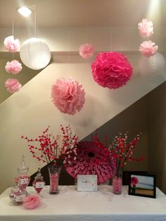 Cherry blossom baby shower--- tissue papere and fishin string for lanterns