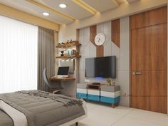 Tv Wall Design, Tv Unit Design, Model House Plan, House Plans, Wall Tv, Master Bedroom, How To Plan, Space, Table