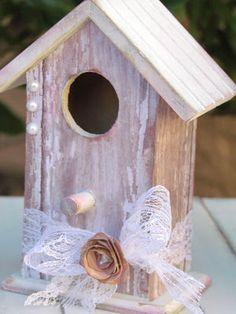 Mod Podge Shabby Chic birdhouse using Cricut Art Philosophy