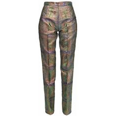 GR LONDON PARIS -  Matching Textured Pants in Achta ($830) ❤ liked on Polyvore featuring pants, metallic trousers, mid rise pants, slim leg pants, metallic pants and snap pants