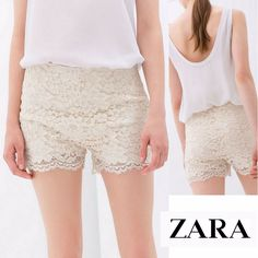 SALE !!! New ZARA Ivory Cream Guipure Lace Shorts, L #ZARA #MiniShortShorts