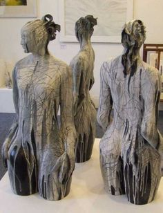 "Sculptures from the ""Ecstasy of Time"" series by Welsh artist & sculptor Ann Goodfellow (b.1952). Ceramic."