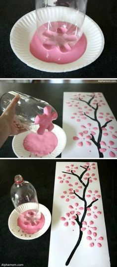 Welcome the spring season with your kids by making this craft. Get ready for a drink bottle, paints and papers.