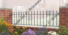 Manor Ball Top Garden Fencing Panel GAP x High wrought iron metal fence railing Gates And Railings, Metal Railings, Exterior Metal Paint, Wrought Iron Fences, Iron Work, Fence Panels, Garden Fencing, Brickwork, Beautiful Homes