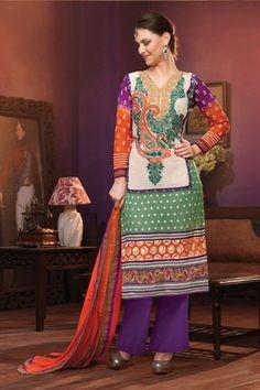 Heavy designer fancy Green and Orange coloured semi stitched salwar suit