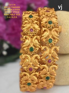 Designer Bangles, Gold Bangles Design, Jewelry Design, 1 Gram Gold Jewellery, Clean Gold Jewelry, Wedding Jewelry Sets, Bridal Jewellery, Imitation Jewelry, Indian Weddings