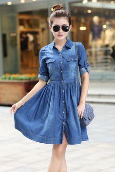cfb0384442967c6 2014 Women's new long-sleeved dress waist denim skirt #Unbranded  #ShirtDress #Casual