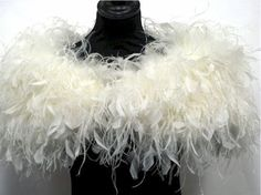 FLAPPER - HOLLYWOOD 1930s GLAMOUR - Ivory Ostrich Feather Stole Wrap Shrug. $198.00, via Etsy.
