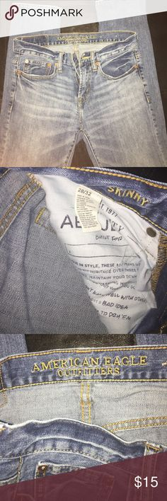 American Eagle Outfitters Skinny Blue Jeans American Eagle Skinny Blue Jeans....Great condition....Light wash....Size 28/32..... American Eagle Outfitters Jeans Skinny