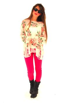 This pink sweater is the perfect combination of sweet and cool.