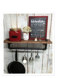 Industrial kitchen shelf, Rustic kitchen shelves, Black Iron Pipe, wall hanging, industrial decor, coffe bar and pot hanger decor home