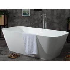 Spa inspired bathtubs such as the ALFI brand free standing resin soaking tubs, have become a popular choice for individuals looking to add a sculptural element to their bathroom décor. These tubs do not include features such as jets or bubbles, let Deep Bathtub, Modern Bathtub, Modern Bathroom, Bathroom Ideas, Bathtub Shower Combo, Floor Drains, Soaking Bathtubs, Marble Vanity Tops, Solid Surface