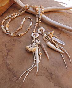 Spirit Beads for Prayer and Meditation  +  Desert Salt White  +  Shell, Antler, Fossils, Ancient Beads, Ethnographic Antiques, Hide Amulet