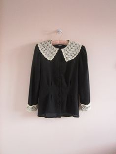 vintage lace black peter pan collar blouse