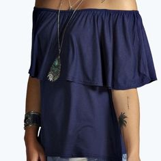 Adorable Off-Shoulder Navy Viscose Top Adorable Off-Shoulder Navy Viscose Top This material is FABULOUS! Super Soft, Hangs on the body in a flattering and comfy way and stretchy. Like your favorite t-shirt! Also washes extremely well and gets softer with each wash. Viscose-95% Elastane-5% Tops Blouses