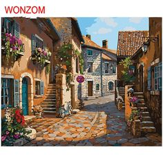 Cheap wallpaper, Buy Quality photo wallpaper directly from China wallpaper abstract Suppliers: European Small Town Painting Mural Photo Wallpapers Living Room Wall Art Decor Murals Wall Paper Rolls Wallpaper Abstract Mural Painting, House Painting, Oil Painting On Canvas, Diy Painting, Canvas Paintings, Abstract Canvas, 3d Wallpaper Abstract, Belle Image Nature, Puzzle Art