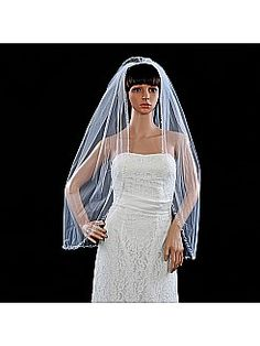 White 1 Tier Fingertip Length Beading Edged Bridal Veil with Comb - USD $12.99