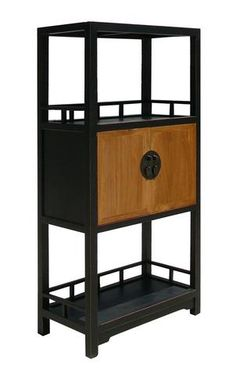 Oriental Moon face Black Brown Book Case Display Cabinet mh248S