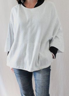 Pure Jill J. Jill Cotton Cashmere Kimono Sleeve Oversize Sweater Gray Sz M #JJill #ScoopNeck